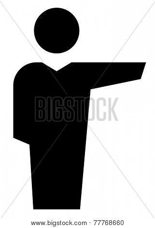 Man showing direction icon