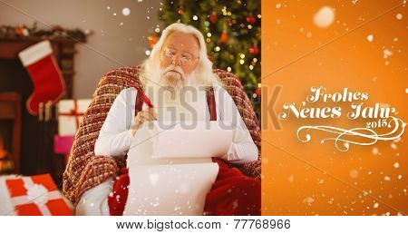 Relaxed santa writing list with a quill against orange vignette