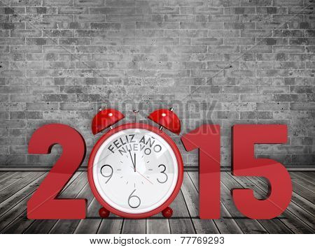 2015 with alarm clock against grey room