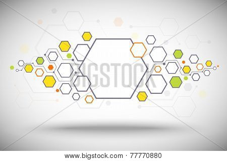 Abstract Background Of Hexagonal Cells And Line Colore