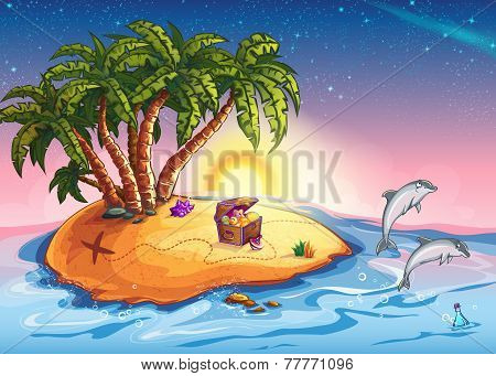 Treasure Island at sunset and cheerful dolphins