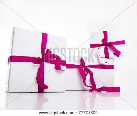 Christmas White Gift Box With Violet Ribbon