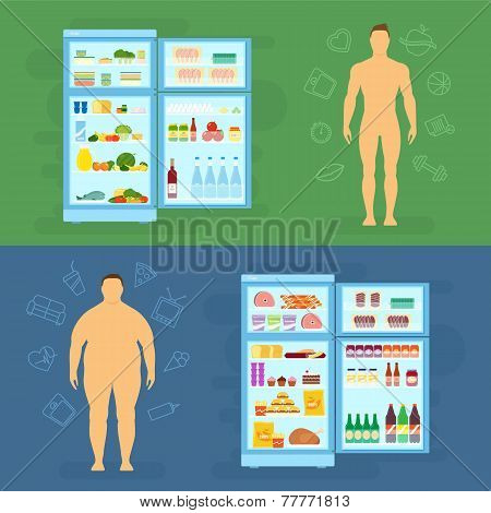 Healthy Lifestyle Flat Vector Card or Infographic Elements With Refrigerator
