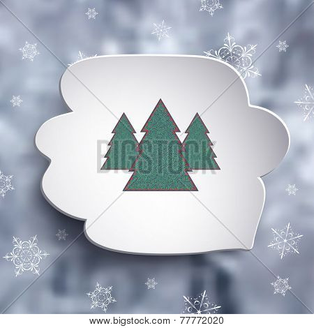 Christmas trees in speech bubble over frozen forest blurred background, vector illustration