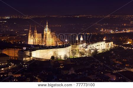 St Vitus Cathedral In Prague Lit Up At Night.