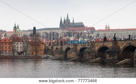 Charles Bridge. Cityscape Of Prague.