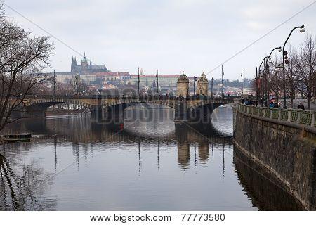 Bridge. Cityscape Of Prague.