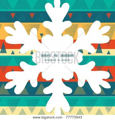 Vector vibrant ikat stripes Christmas snowflake silhouette pattern frame card template