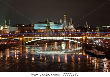 The Moscow Kremlin At Night.