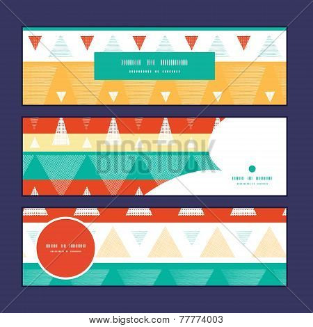Vector vibrant ikat stripes horizontal banners set pattern background