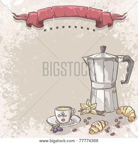 coffee cup of coffee croissants blackberries and vanilla flower.