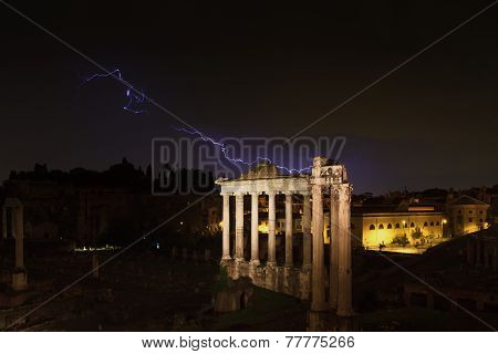Lightning Strike At The Temple Of Saturn
