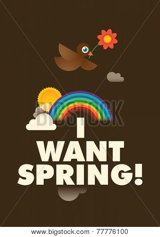 Spring poster with a comic bird. Vector illustration.