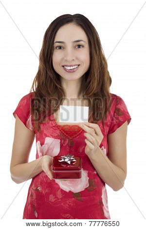 Valentine's Day Woman With A Gift Box In Her Hand Showing A Gift Card