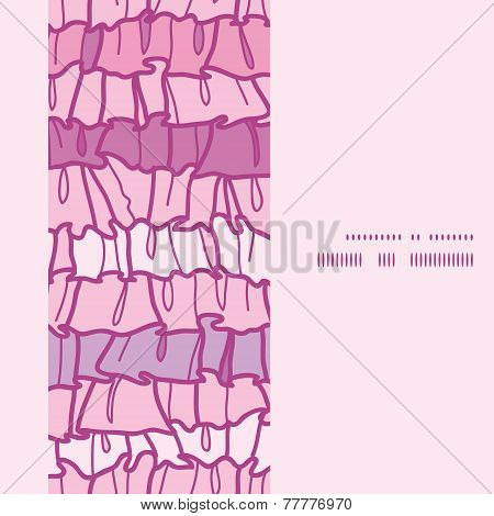 Vector pink ruffle fabric stripes vertical frame seamless pattern background