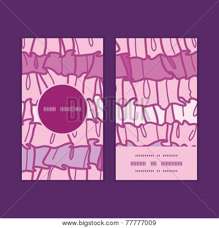 Vector pink ruffle fabric stripes vertical round frame pattern business cards set