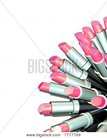 3d trendy fashion graphical render of lipsticks
