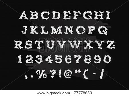 Hand drawn chalk alphabet vector, capital letters.
