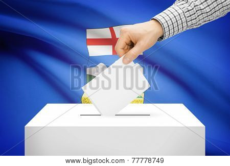 Voting Concept - Ballot Box With National Flag On Background - Alberta