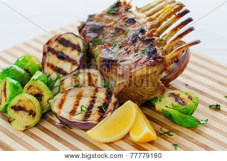 Grilled Lamb Rack With Vegetables