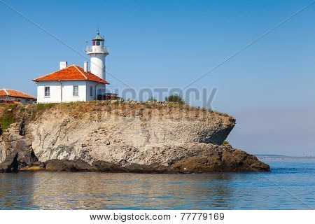 White Lighthouse With Red Light On St. Anastasia Island
