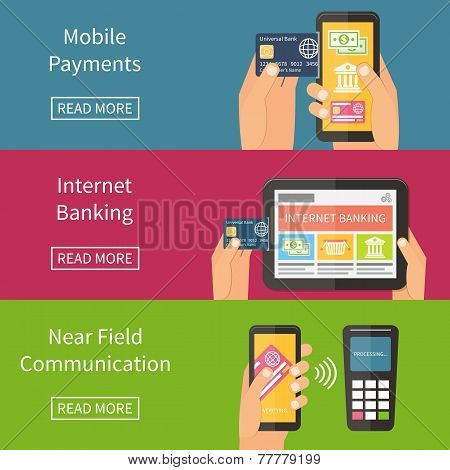 Internet banking, mobile payments and nfc technology. Flat vector illustration.
