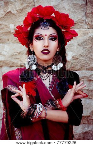 Indian Woman With Dramatic Arabic Makeup