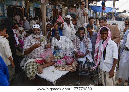 men sell khat (Catha edulis) at the local market in Lahij, Yemen.