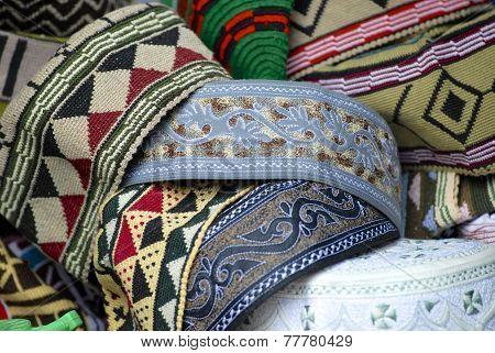 Traditional Yemeni men headdress at the market of Sana'a, Yemen.