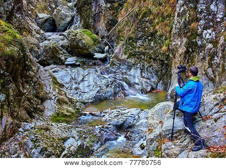 Nature Photographer In A Canyon