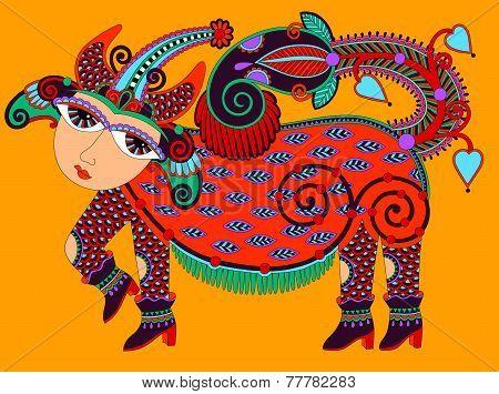 ukrainian tribal art in karakoko style, ethnic animal