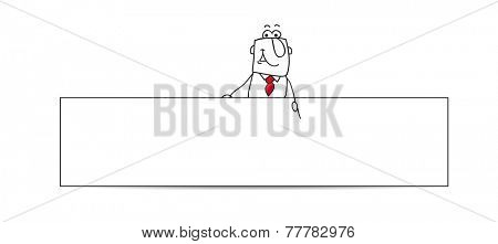 Horizontal banner with the businessman. Joe, the businessman is behind a horizontal banner. This illustration is ideal for your contact form on your website.