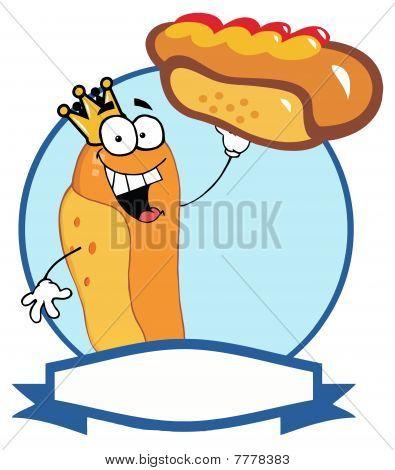 King Hot Dog Holding Up A Garnished Hot Dog Over A Blue Circle