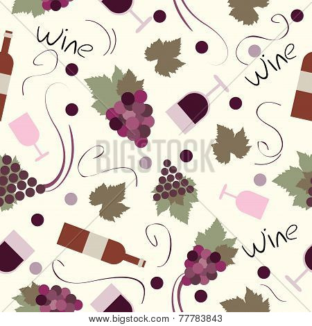 Seamless pattern vintage wine