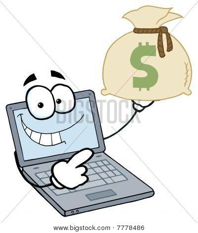 Laptop Cartoon Character Displays Money Bag