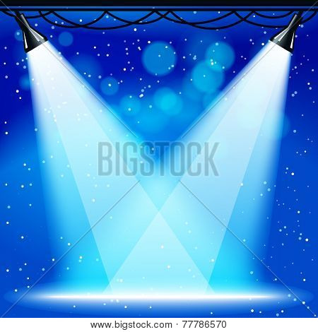 scene with projectors and blue night background