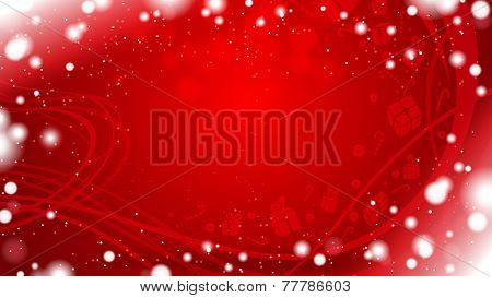 red horizontal winter background with snowflake border and gifts silhouettes