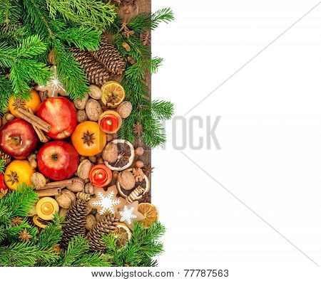 Apples, Mandarine Fruits, Walnuts, Cookies And Spices