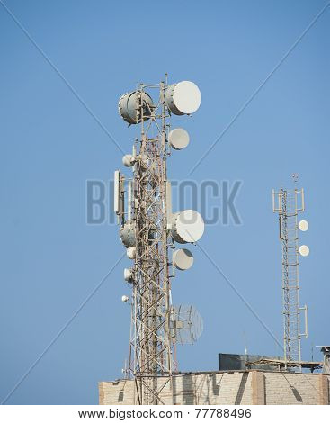 Telecommunications Tower With Dishes