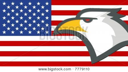 American Eagle Head With Flag