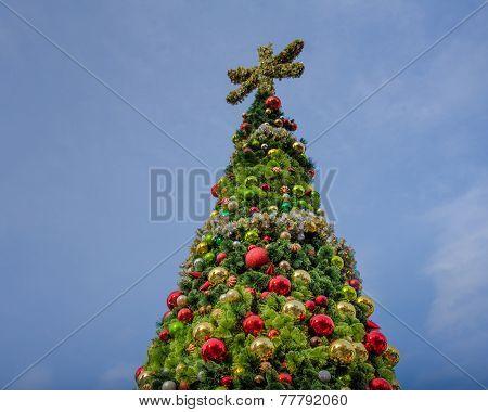 Christmas tree sparkles in the downtown Seattle, Washington