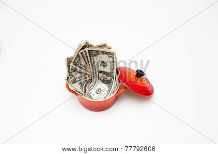 Little Red Cocotte Full Of Dollars