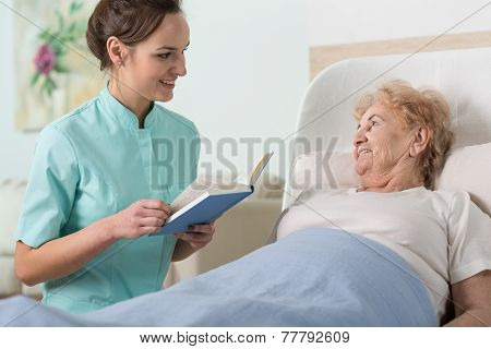 Reading To Older Woman