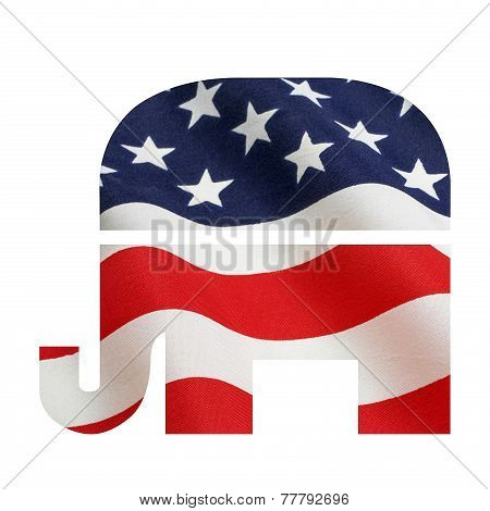Rebublican Elephant With Flag