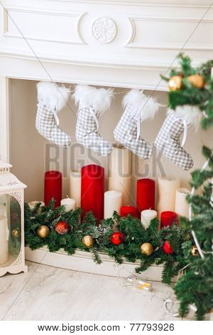 Image of fireplace with christmas decor