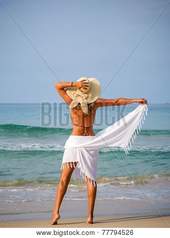 Rear view of a mid adult woman standing on the beach