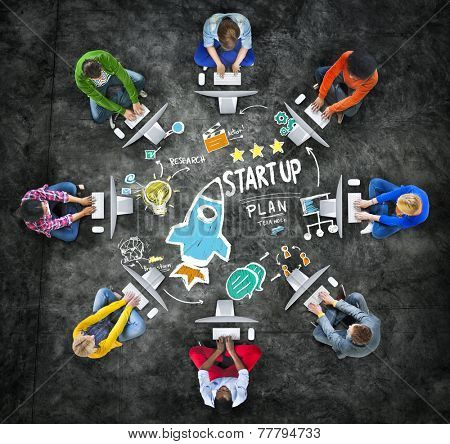 Start Up Business Launch Success Computer Technology Concept
