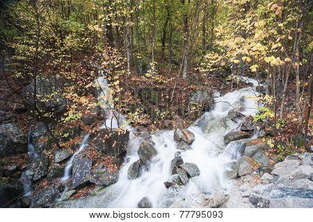 Water falls over rocks.