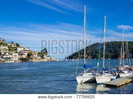Sailing Yachts Moored At Dartmouth, England
