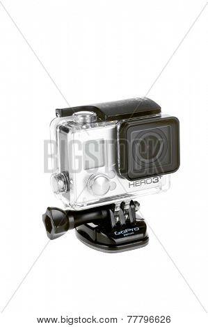 Hayward, CA - November 27, 2014: Hero 3 Black GroPro camera isolated on white